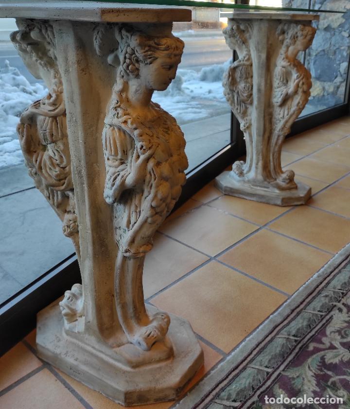 Antigüedades: Curiosa Ménsula - Esfinges de Terracota - Sobre Cristal Biselado - Decorativa Consola, Mesa - Foto 7 - 234692945