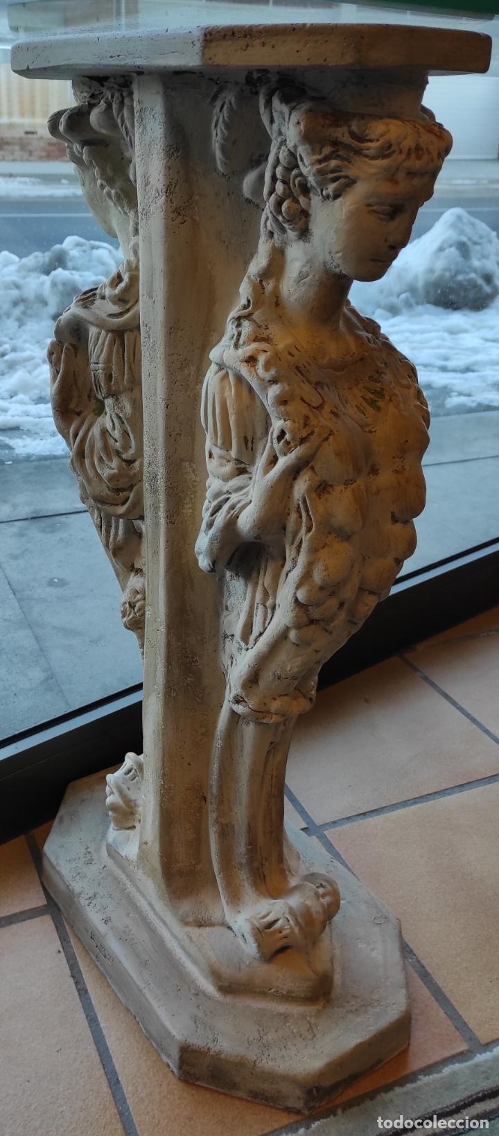 Antigüedades: Curiosa Ménsula - Esfinges de Terracota - Sobre Cristal Biselado - Decorativa Consola, Mesa - Foto 8 - 234692945