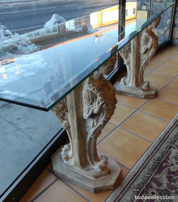 Antigüedades: Curiosa Ménsula - Esfinges de Terracota - Sobre Cristal Biselado - Decorativa Consola, Mesa - Foto 13 - 234692945