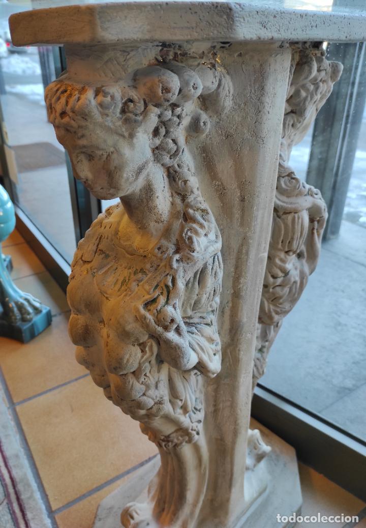 Antigüedades: Curiosa Ménsula - Esfinges de Terracota - Sobre Cristal Biselado - Decorativa Consola, Mesa - Foto 16 - 234692945