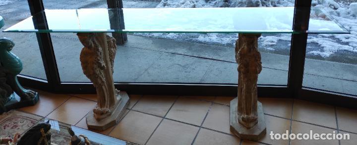 Antigüedades: Curiosa Ménsula - Esfinges de Terracota - Sobre Cristal Biselado - Decorativa Consola, Mesa - Foto 18 - 234692945
