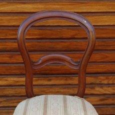 Antigüedades: SILLA DE MADERA CAOBA - ESTILO ISABELINA. Lote 234735255