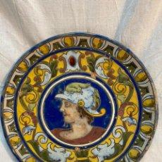 Oggetti Antichi: PLATO DE TRIANA PINTADO A LA CUERDA SECA CON MOTIVO DE SOLDADO. Lote 234740995