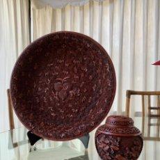 Antiquités: CONJUNTO DE PLATO Y TIBOR CHINOS DE LACA ROJA. Lote 234746780