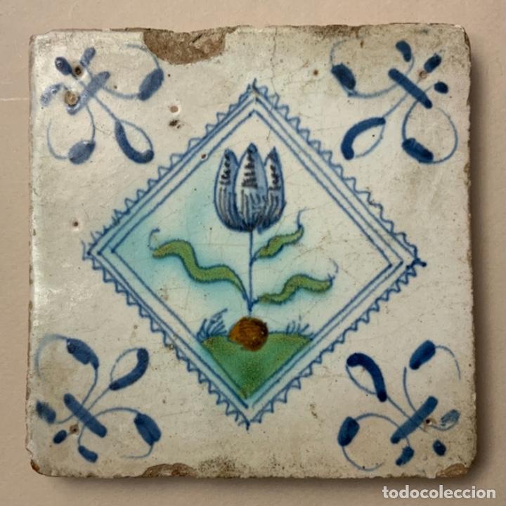 RARO AZULEJO DELFT (S.XVII) (Antigüedades - Porcelana y Cerámica - Holandesa - Delft)