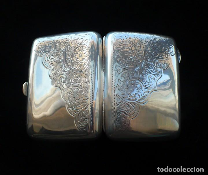 Antigüedades: Antigua pitillera inglesa de plata maciza .1918 Birmingham - Foto 2 - 234798205