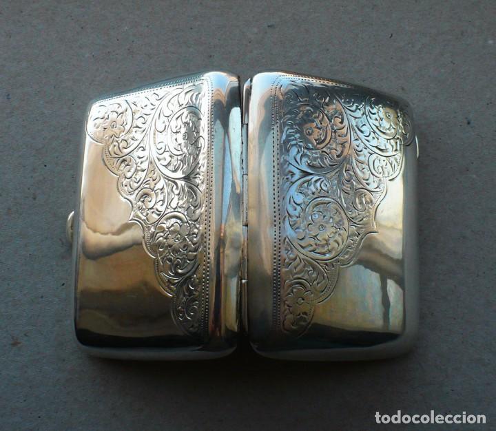 Antigüedades: Antigua pitillera inglesa de plata maciza .1918 Birmingham - Foto 15 - 234798205
