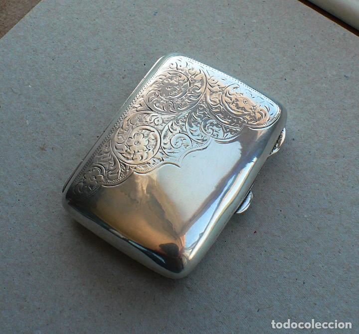 Antigüedades: Antigua pitillera inglesa de plata maciza .1918 Birmingham - Foto 16 - 234798205