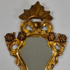 Antigüedades: ANTIGUA CORNUCOPIA - ESPEJO - TALLA DE MADERA DORADA EN PAN DE ORO - S. XVIII-XIX. Lote 234801860