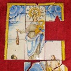 Antiguidades: VIRGEN DEL CARMEN. AZULEJOS EN CERÁMICA ESMALTADA. ESPAÑA. PRINCIPIO S. XX. Lote 234808820