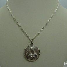Oggetti Antichi: CADENA BARBADA Y MEDALLA ESCAPULARIO EN PLATA DE LEY (925MM). Lote 234848165