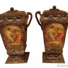 Antigüedades: ANTIQUÍSIMAS COPAS-FLOREROS DE HOJALATA- CHAPA-METAL CON ESCENAS ROMÁNTICAS, S. XIX, IDEALES. Lote 234879510