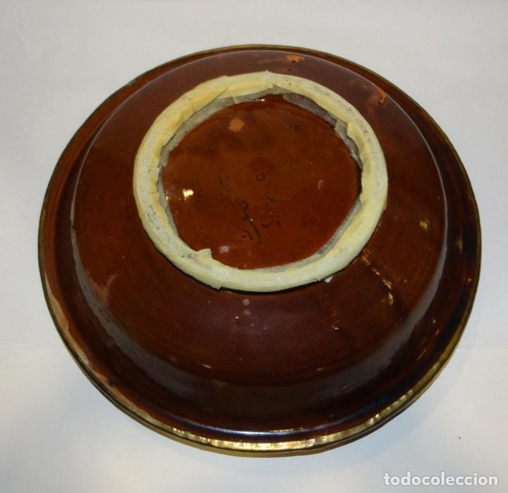 Antigüedades: TAJÍN ANTIGUO CERÁMICA ESMALTADA PINTADA A MANO Y COBRE - Foto 4 - 234928790