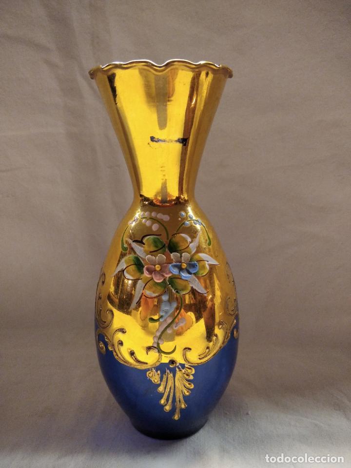 JARRONCITO CRISTAL AZUL BOHEMIA (Antigüedades - Cristal y Vidrio - Bohemia)