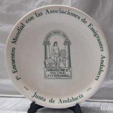Antigüedades: PLATO DE CARTUJA DE SEVILLA - PICKMAN - 1º ENCUENTRO MUNDIAL ANDALUCES - JUNTA DE ANDALUCIA. Lote 235016300