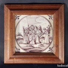 Oggetti Antichi: AZULEJO. CERÁMICA. DELFT. HOLANDA. SIGLO XVIII.. Lote 235063795