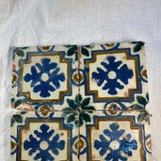 Oggetti Antichi: LOTE DE 4 AZULEJOS SIGLO XVI POSIBLEMENTE TRIANA. Lote 235087940