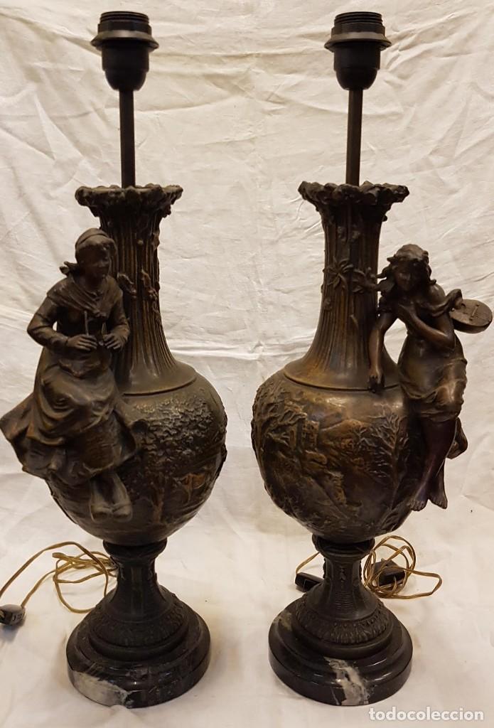 Antigüedades: PAREJA JARROS CALAMINA TRANSFORMADOS EN LAMPARAS - Foto 2 - 235123000