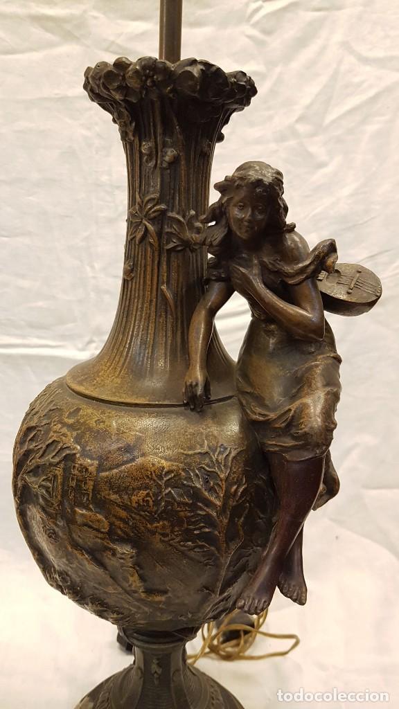 Antigüedades: PAREJA JARROS CALAMINA TRANSFORMADOS EN LAMPARAS - Foto 4 - 235123000