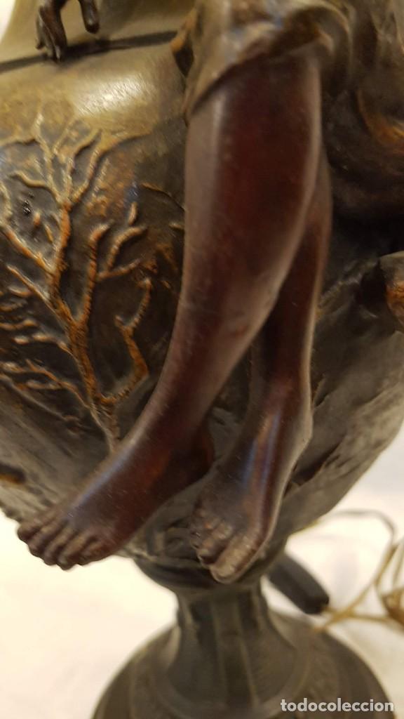 Antigüedades: PAREJA JARROS CALAMINA TRANSFORMADOS EN LAMPARAS - Foto 12 - 235123000