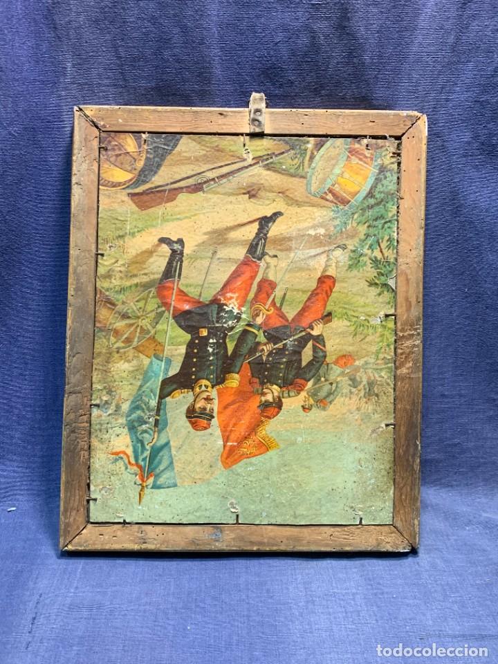 Antigüedades: ESPEJO FRANCES PEQUEÑO S XIX TRASERA CROMOLITOGRAFIA MILITAR CARGA INFANTERIA 36X28CMS - Foto 8 - 235129745