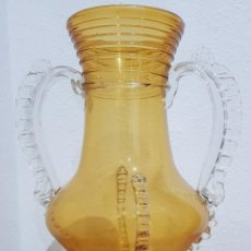 Antigüedades: JARRÓN DE GORDIOLA, A DOS COLORES, EN VIDRIO SOPLADO Y PINZADO. PRINCIPIOS SIGLO XX (VER DETALLES). Lote 235163185