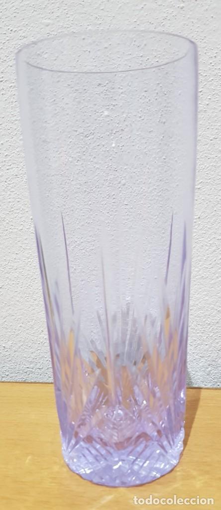 Antigüedades: Lote 5 vasos tubo cristal Bohemia tallados, cambian de color según la luz (ver fotos) - Foto 6 - 235187465
