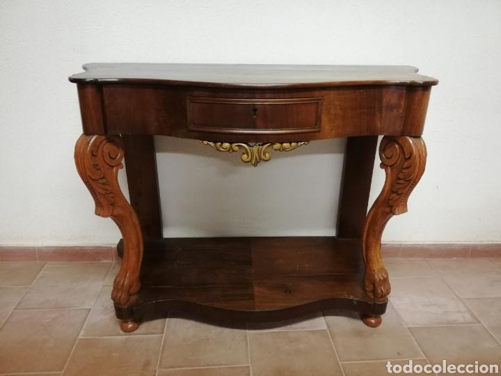 CONSOLA CAOBA RESTAURADA (Antigüedades - Muebles Antiguos - Consolas Antiguas)