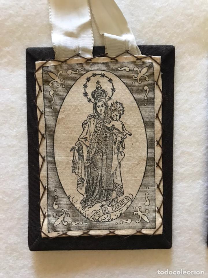 Antigüedades: RELIGIOSO. ANTIGUO ESCAPULARIO DE LA VIRGEN DEL CARMEN - Foto 2 - 235240400
