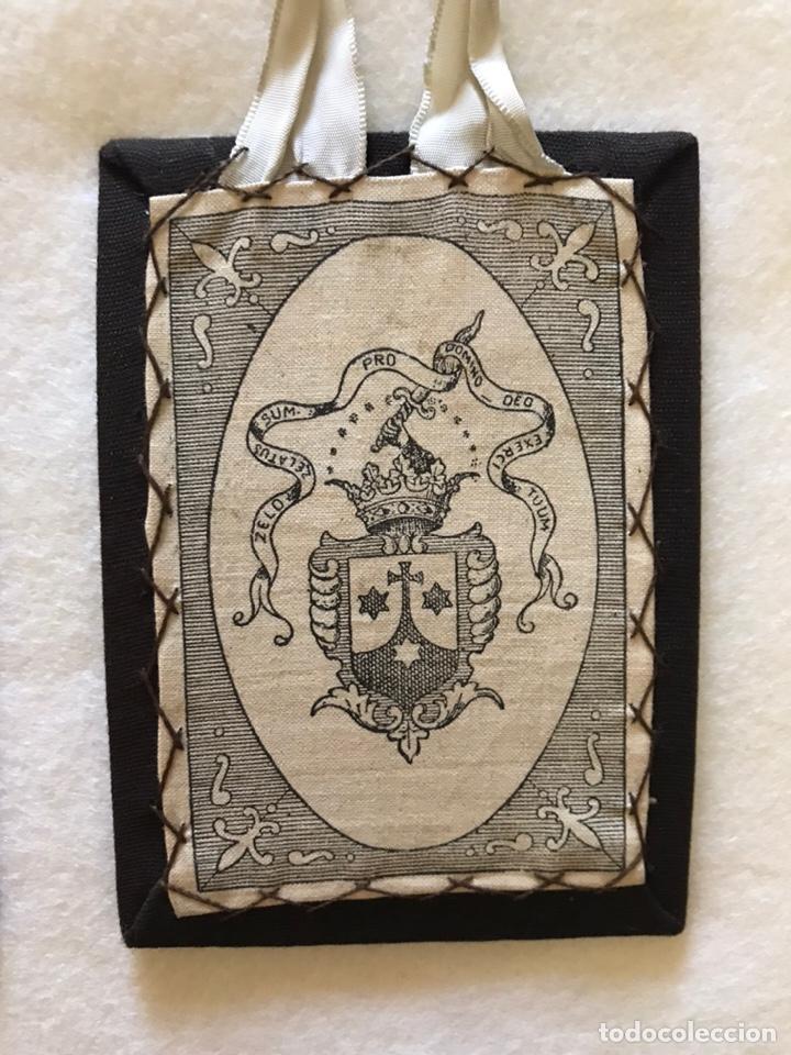 Antigüedades: RELIGIOSO. ANTIGUO ESCAPULARIO DE LA VIRGEN DEL CARMEN - Foto 3 - 235240400