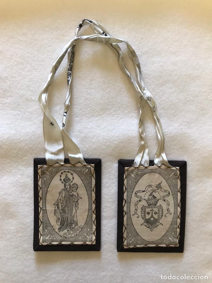 Antigüedades: RELIGIOSO. ANTIGUO ESCAPULARIO DE LA VIRGEN DEL CARMEN - Foto 4 - 235240400
