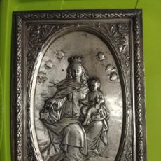 Antigüedades: VIRGEN RELIEVE CON ESCAPULARIO Y NIÑO JESUS PLANCHA 32 X21,5 CM TIPO CVADRO LEER DESCRIPCIÓN. Lote 235242510