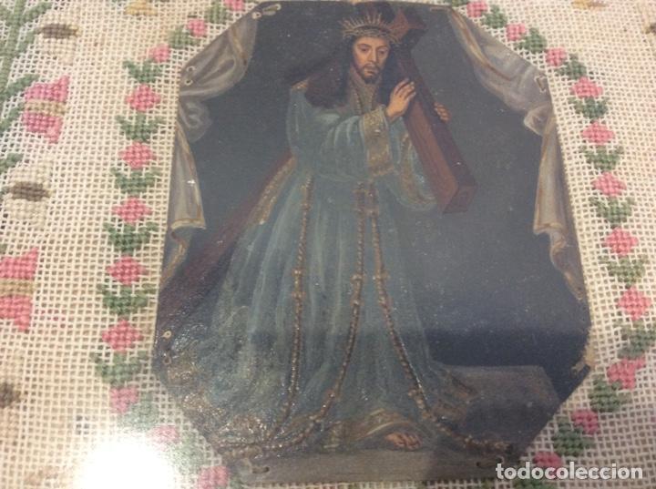 Antigüedades: Bordado circa 1800 con Marco original. Por detrás cartón pintado por la bordadora - Foto 7 - 130450918