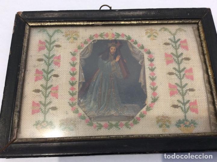 Antigüedades: Bordado circa 1800 con Marco original. Por detrás cartón pintado por la bordadora - Foto 8 - 130450918