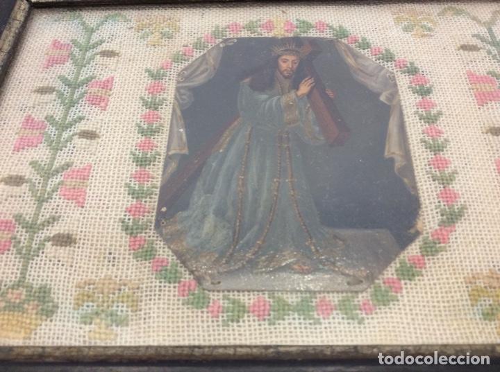 Antigüedades: Bordado circa 1800 con Marco original. Por detrás cartón pintado por la bordadora - Foto 9 - 130450918