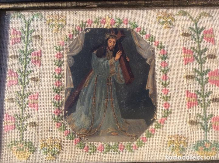 Antigüedades: Bordado circa 1800 con Marco original. Por detrás cartón pintado por la bordadora - Foto 10 - 130450918