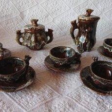 Antigüedades: ANTIGUO JUEGO DE TE O CAFÉ, CERÁMICA O BARRO VIDRIADO, AÑOS 60. Lote 235281395