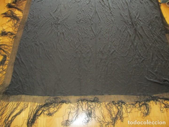 Antigüedades: Mantón de manila negro sin bordados - Foto 3 - 235294525