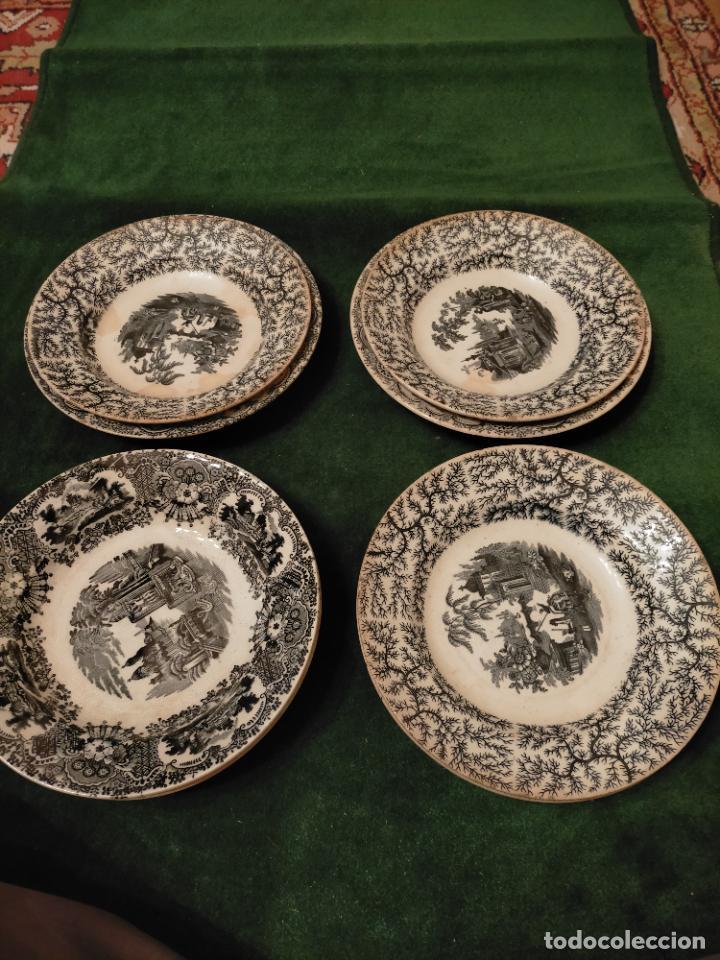 Antigüedades: Antiguos 6 plato / platos hondos de la Cartuja Pikman de Sevilla dibujo negro años 20-30 - Foto 2 - 235295325
