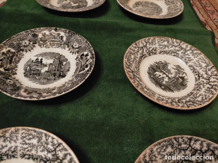Antigüedades: Antiguos 6 plato / platos hondos de la Cartuja Pikman de Sevilla dibujo negro años 20-30 - Foto 5 - 235295325