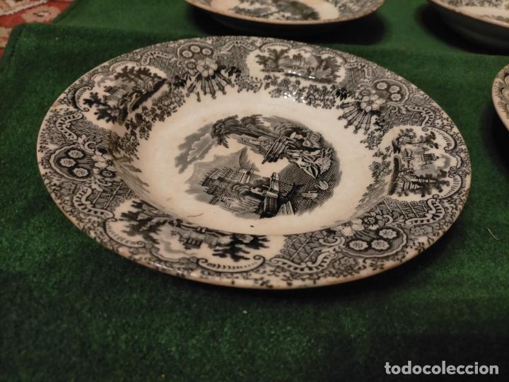 Antigüedades: Antiguos 6 plato / platos hondos de la Cartuja Pikman de Sevilla dibujo negro años 20-30 - Foto 6 - 235295325
