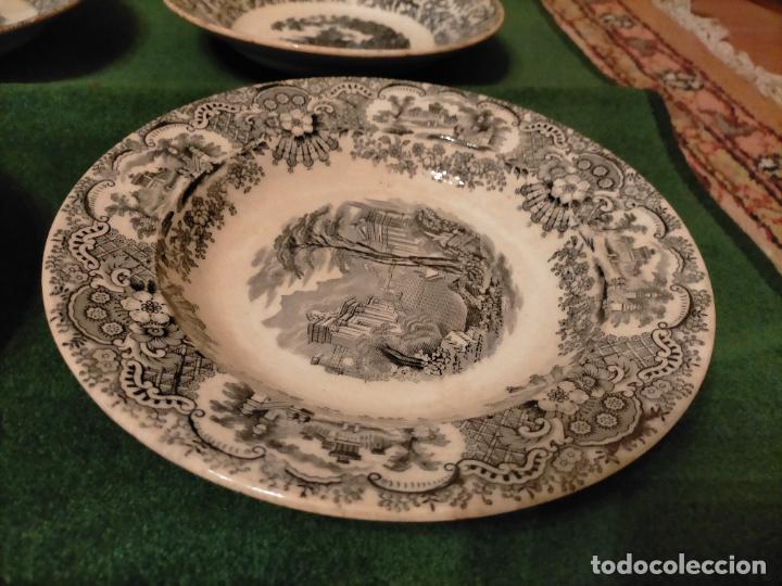 Antigüedades: Antiguos 6 plato / platos hondos de la Cartuja Pikman de Sevilla dibujo negro años 20-30 - Foto 7 - 235295325