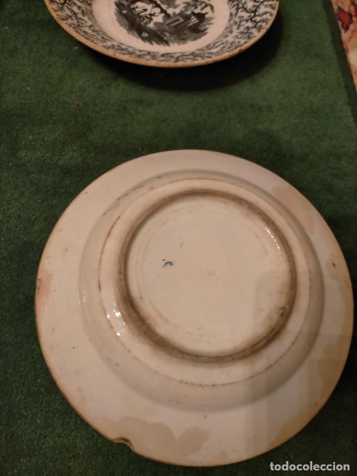 Antigüedades: Antiguos 6 plato / platos hondos de la Cartuja Pikman de Sevilla dibujo negro años 20-30 - Foto 11 - 235295325
