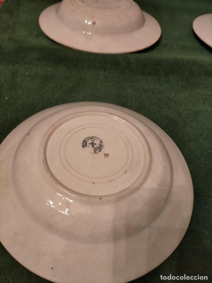 Antigüedades: Antiguos 6 plato / platos hondos de la Cartuja Pikman de Sevilla dibujo negro años 20-30 - Foto 12 - 235295325