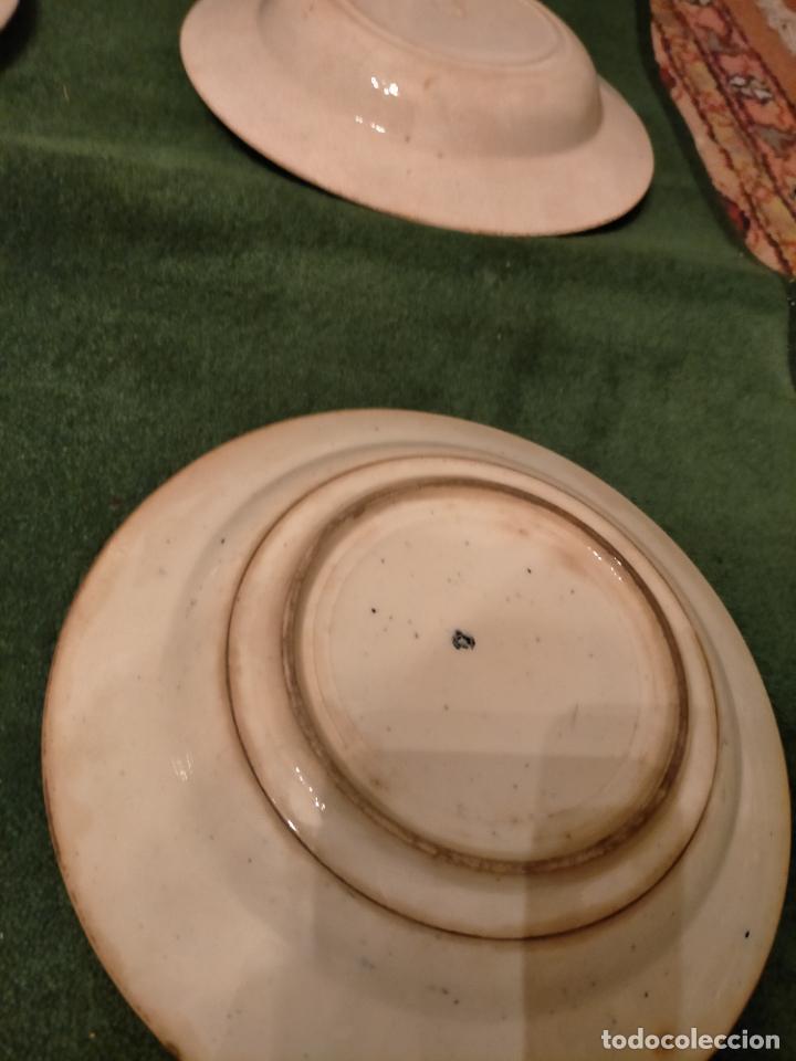 Antigüedades: Antiguos 6 plato / platos hondos de la Cartuja Pikman de Sevilla dibujo negro años 20-30 - Foto 13 - 235295325