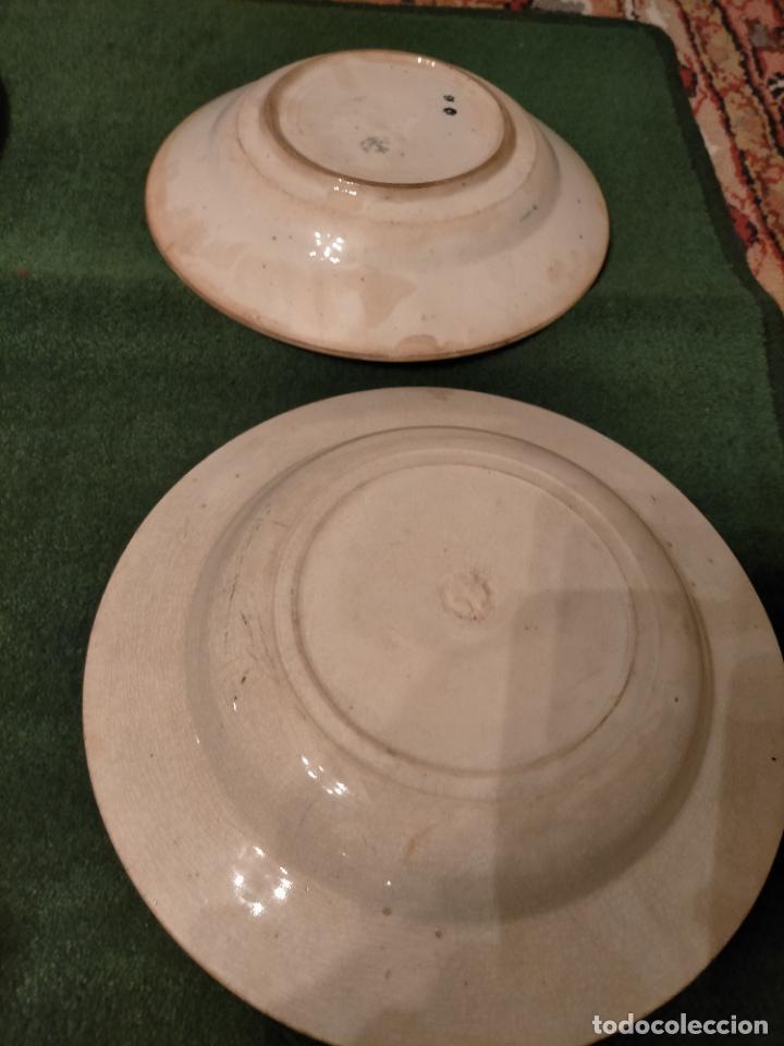 Antigüedades: Antiguos 6 plato / platos hondos de la Cartuja Pikman de Sevilla dibujo negro años 20-30 - Foto 14 - 235295325