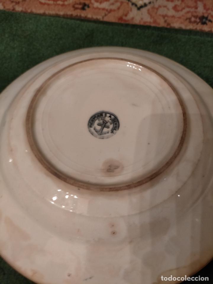 Antigüedades: Antiguos 6 plato / platos hondos de la Cartuja Pikman de Sevilla dibujo negro años 20-30 - Foto 15 - 235295325