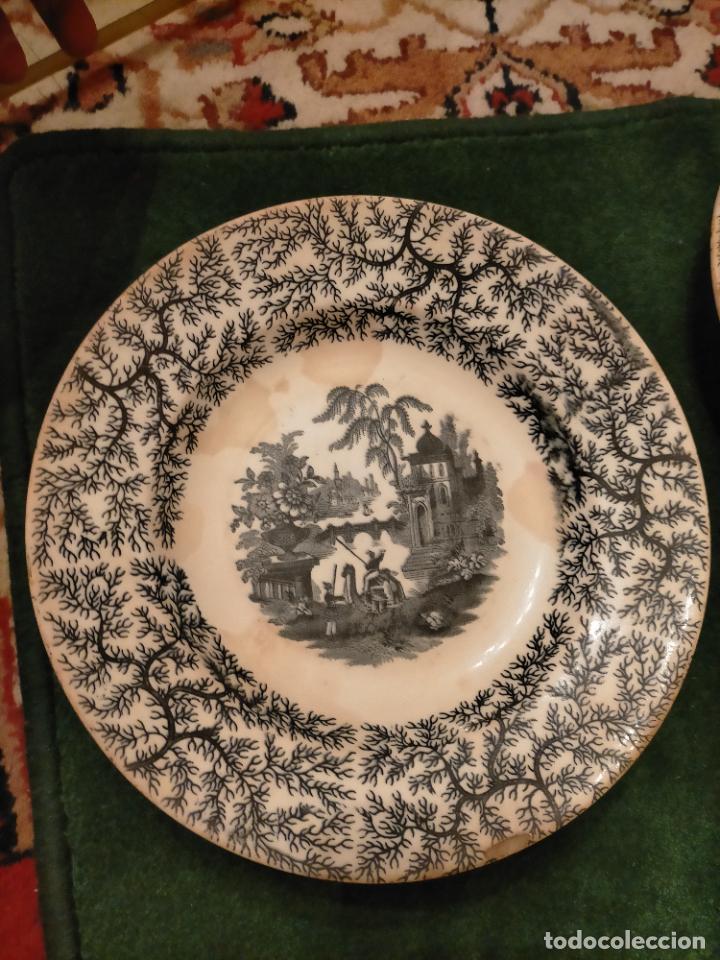 Antigüedades: Antiguos 6 plato / platos hondos de la Cartuja Pikman de Sevilla dibujo negro años 20-30 - Foto 19 - 235295325