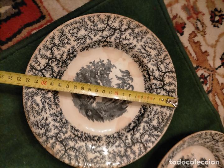 Antigüedades: Antiguos 6 plato / platos hondos de la Cartuja Pikman de Sevilla dibujo negro años 20-30 - Foto 20 - 235295325