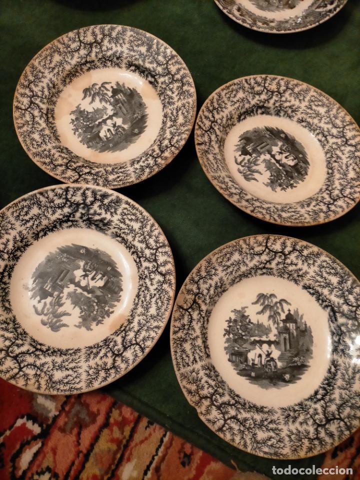 Antigüedades: Antiguos 6 plato / platos hondos de la Cartuja Pikman de Sevilla dibujo negro años 20-30 - Foto 21 - 235295325